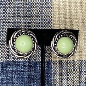 Vintage Silver Tone & Green Clip On Earrings